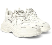Triple S Logo-Print Faux Leather Sneakers
