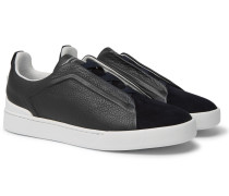 Triple Stitch Full-grain Leather And Suede Slip-on Sneakers