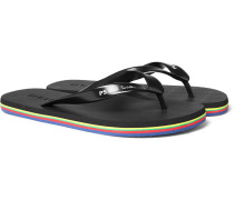 Striped Logo-print Rubber Flip Flops - Black