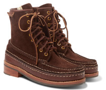 Grizzly Leather-trimmed Suede Boots - Dark brown