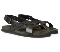 Valentino Garavani Logo-detailed Leather And Webbing Sandals