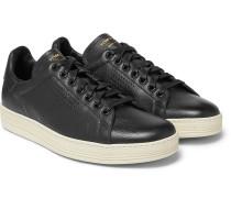 Warwick Perforated Full-grain Leather Sneakers - Black
