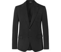 Black Slim-Fit Logo-Embroidered Wool-Blend Blazer