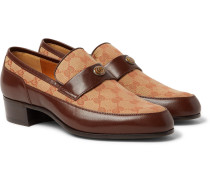 Printed Monogrammed Coated-canvas And Leather Loafers