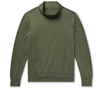 Fleece-Back Supima Cotton-Jersey Mock-Neck Sweatshirt