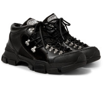 Rubber-trimmed Leather And Mesh Sneakers - Black