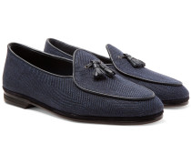 Marphy Leather And Suede-trimmed Herringbone Linen Tasselled Loafers - Navy