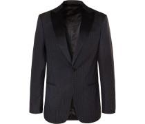 Navy Slim-Fit Silk Satin-Trimmed Jacquard Tuxedo Jacket