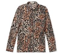 Leopard-Print Cotton and Silk-Blend Shirt
