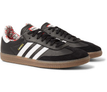 + Have A Good Time Samba Suede-trimmed Leather Sneakers - Black