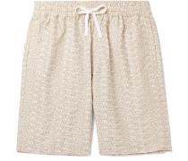 Wide-Leg Logo-Print Cotton-Twill Shorts