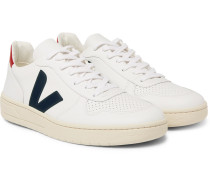 V-10 Rubber-trimmed Leather Sneakers - White