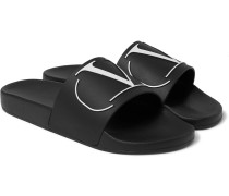 Valentino Garavani Logo-embossed Rubber Slides - Black
