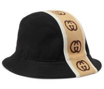 Logo-Jacquard Webbing-Trimmed Bucket Wool Hat
