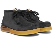 Beuys Trekker Folk Leather-trimmed Suede Boots - Black