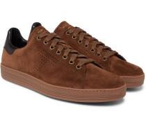 Warwick Perforated Suede Sneakers - Dark brown