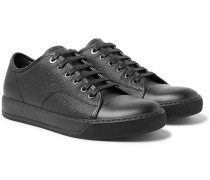 Cap-toe Pebble-grain Leather Sneakers - Black