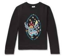 Oslavi E Rave Moose Embroidered Loopback Cotton-jersey Sweatshirt - Black