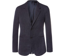 Navy Butterfly Slim-fit Unstructured Cotton And Silk-blend Blazer