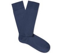 Pima Cotton-blend Socks - Blue