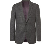 Charcoal Slim-Fit Puppytooth Wool Suit Jacket