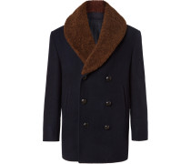 Double-breasted Shearling-trimmed Cashmere-felt Coat