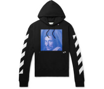 Printed Fleece-back Cotton-jersey Hoodie - Black