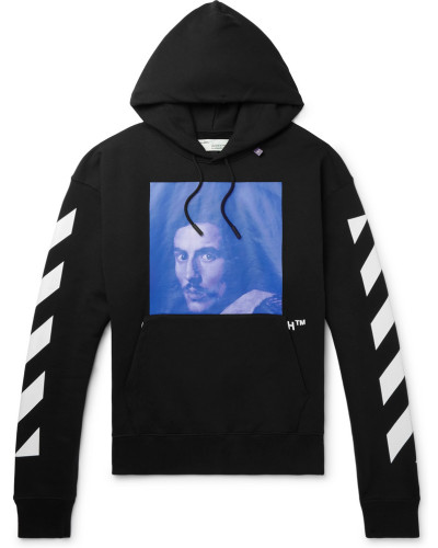 Printed Fleece-back Cotton-jersey Hoodie - Black