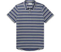 Hawthorn Striped Mélange Cotton-Jersey Polo Shirt