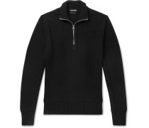 Ribbed Wool And Cashmere-blend Half-zip Sweater - Black