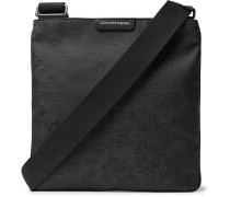 Leather-trimmed Jacquard Messenger Bag