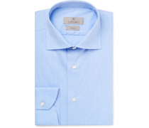 Blue Pin-dot Stretch Cotton-blend Shirt - Blue