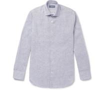 Slim-fit Cutaway-collar Mélange Linen Shirt - Blue