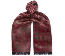 Reversible Fringed Floral-print Silk And Cashmere Scarf - Burgundy