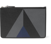 Cadogan Marquetry Full-grain Leather Pouch - Black