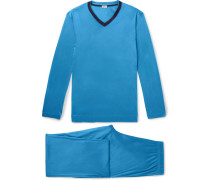 Contrast-trimmed Lyocell Pyjama Set