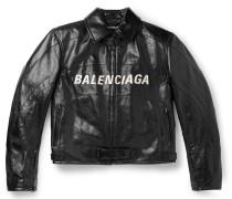 Oversized Logo-Appliquéd Textured-Leather Jacket