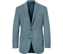 Aqua-blue Slim-fit Wool-flannel Suit Jacket