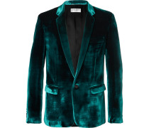 Turquoise Slim-fit Velvet Suit Jacket - Turquoise