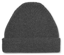 Ribbed Cashmere And Wool-blend Beanie - Gray