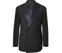 Midnight-blue Slim-fit Satin-trimmed Wool Tuxedo Jacket - Navy