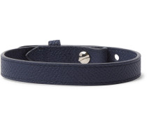Cross-grain Leather Bracelet - Navy