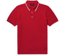 Slim-fit Contrast-tipped Basketweave Stretch-cotton Polo Shirt