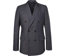 Blue Slim-fit Double-breasted Stretch-denim Blazer