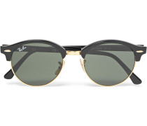 Clubmaster Round-frame Acetate And Gold-tone Polarised Sunglasses