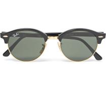 Clubmaster Round-frame Acetate And Gold-tone Polarised Sunglasses - Black