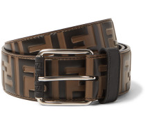 4.5cm Brown Logo-embossed Leather Belt - Brown