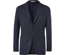Navy Unstructured Linen Suit Jacket