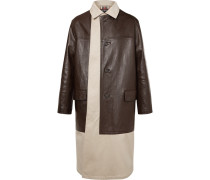 Layered Cotton-gabardine And Leather Coat - Beige