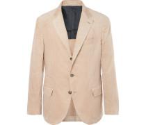 Beige Slim-fit Sea Island Cotton-corduroy Suit Jacket - Camel